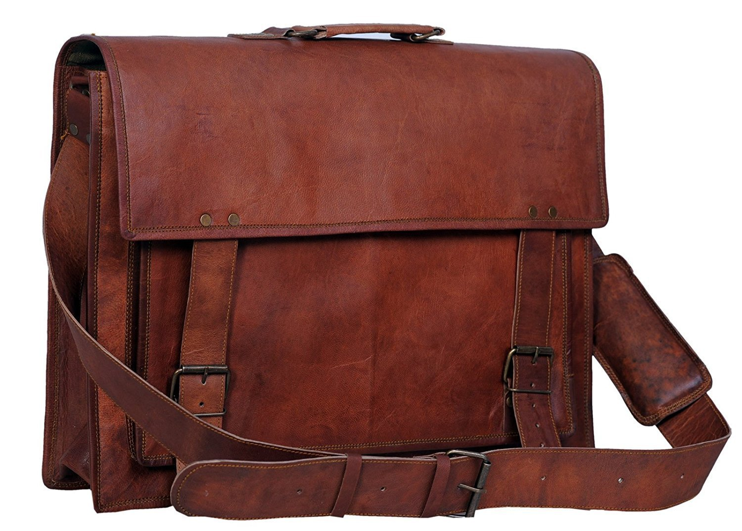 Passion Leather 18 Inch Retro Leather Briefcase Laptop Messenger Bag FBA_383402