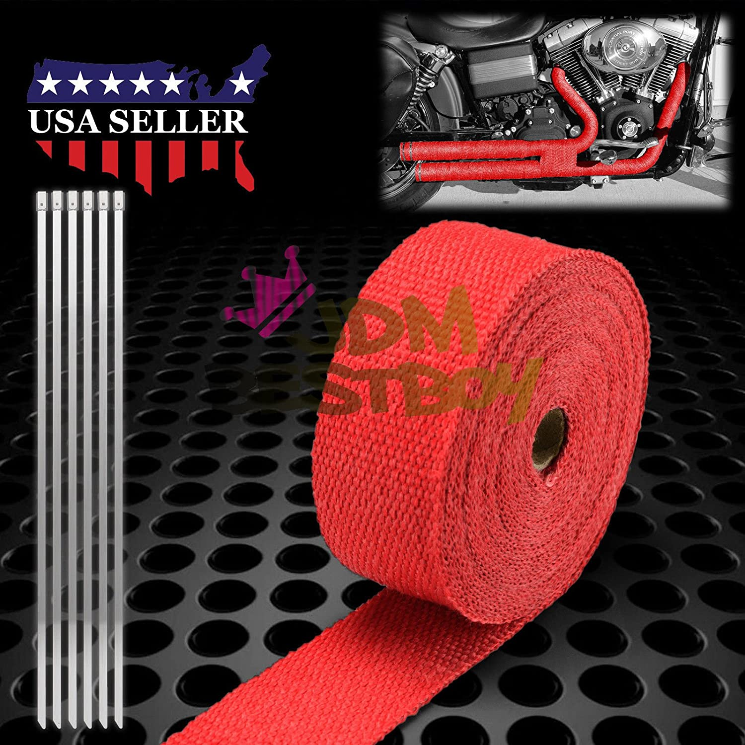 JDMBESTBOY Red Exhaust Pipe Insulation Thermal Heat Wrap 2 x 50 Motorcycle Header Protection Fiberglass Heat Shield 6X Stainless Ties