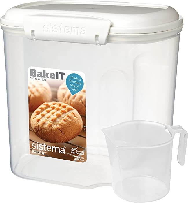 Sistema Bake IT Sugar Storage Container with Measuring Cup, 10 Cup/2 L, Clear/White