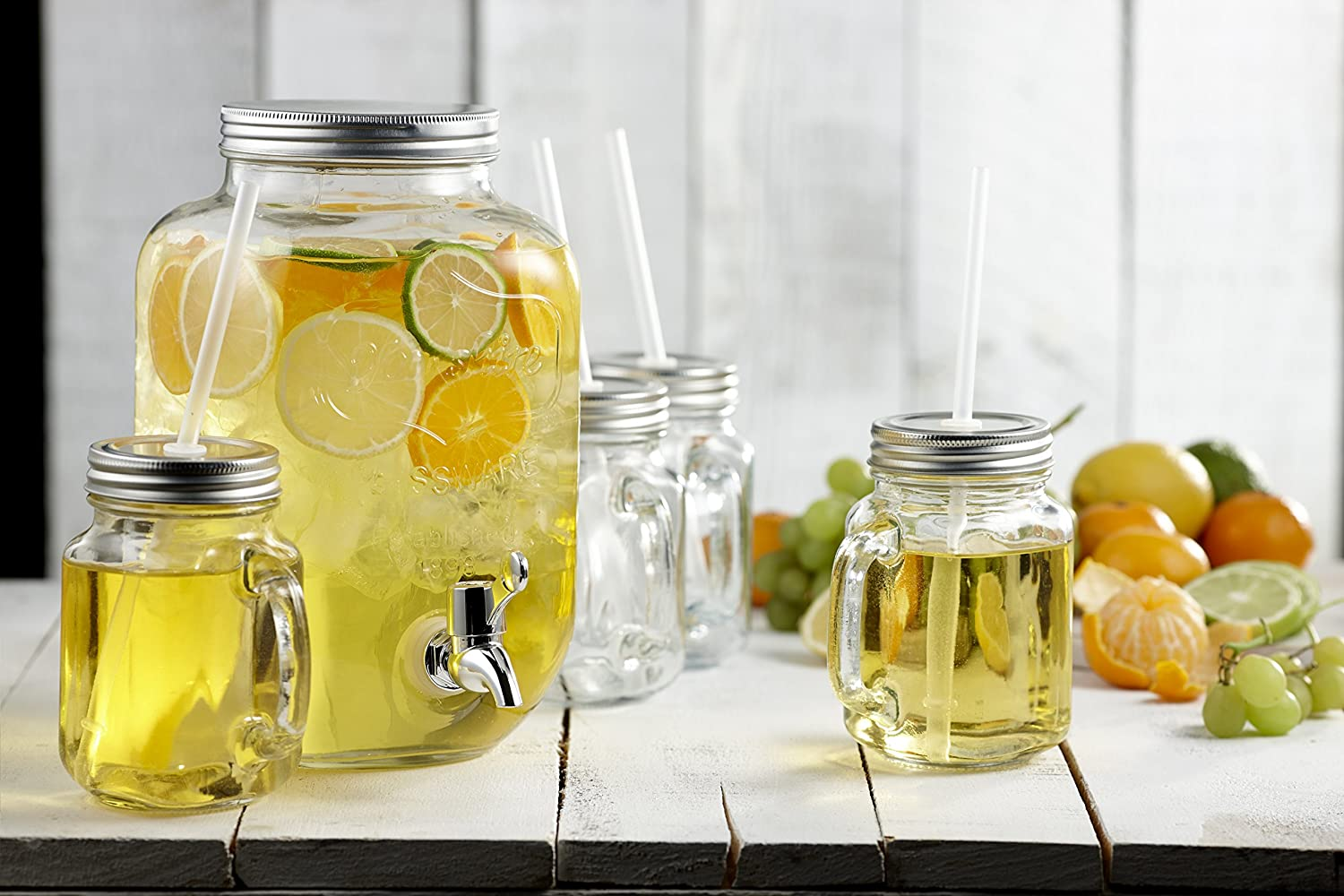 Brilliant 5-Piece Mason Jar Dispenser and Glass Set