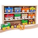 Orbrium Toys 12 (18 Pcs) Wooden Engines & Train Cars Collection with Animals, Farm Safari Zoo Wooden Animal Train Cars, Circu