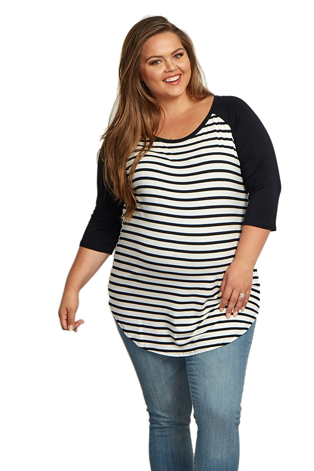 f4b85788cdda8 PinkBlush Maternity Striped Colorblock Sleeve Plus Size Top at Amazon  Women's Clothing store: