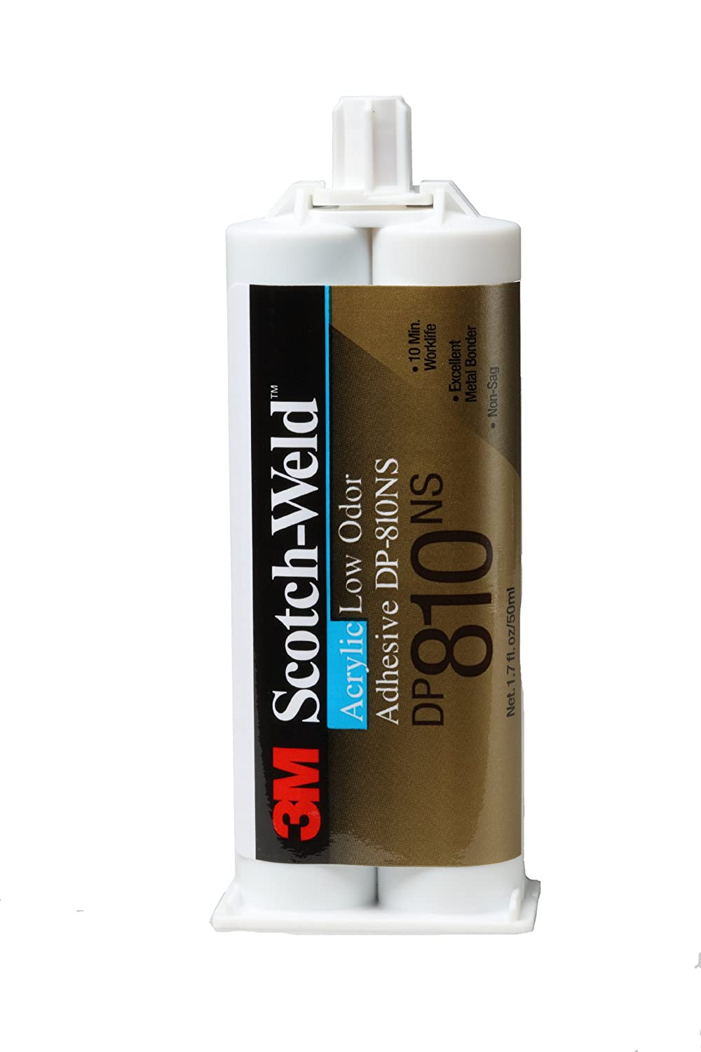 3M Scotch-Weld Low Odor Acrylic Adhesive DP810NS Tan, 1.7 fl oz/50 mL (Pack of 1)