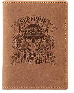 60979ba84fa69 Greenburry Vintage Herren Leder Ausweis Mappe Braun 12x9x1 cm