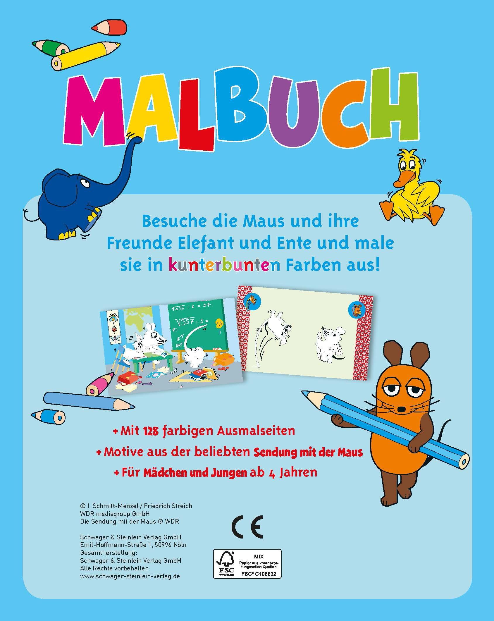 Die Maus Malbuch Mit 128 Farbigen Seiten Amazon De