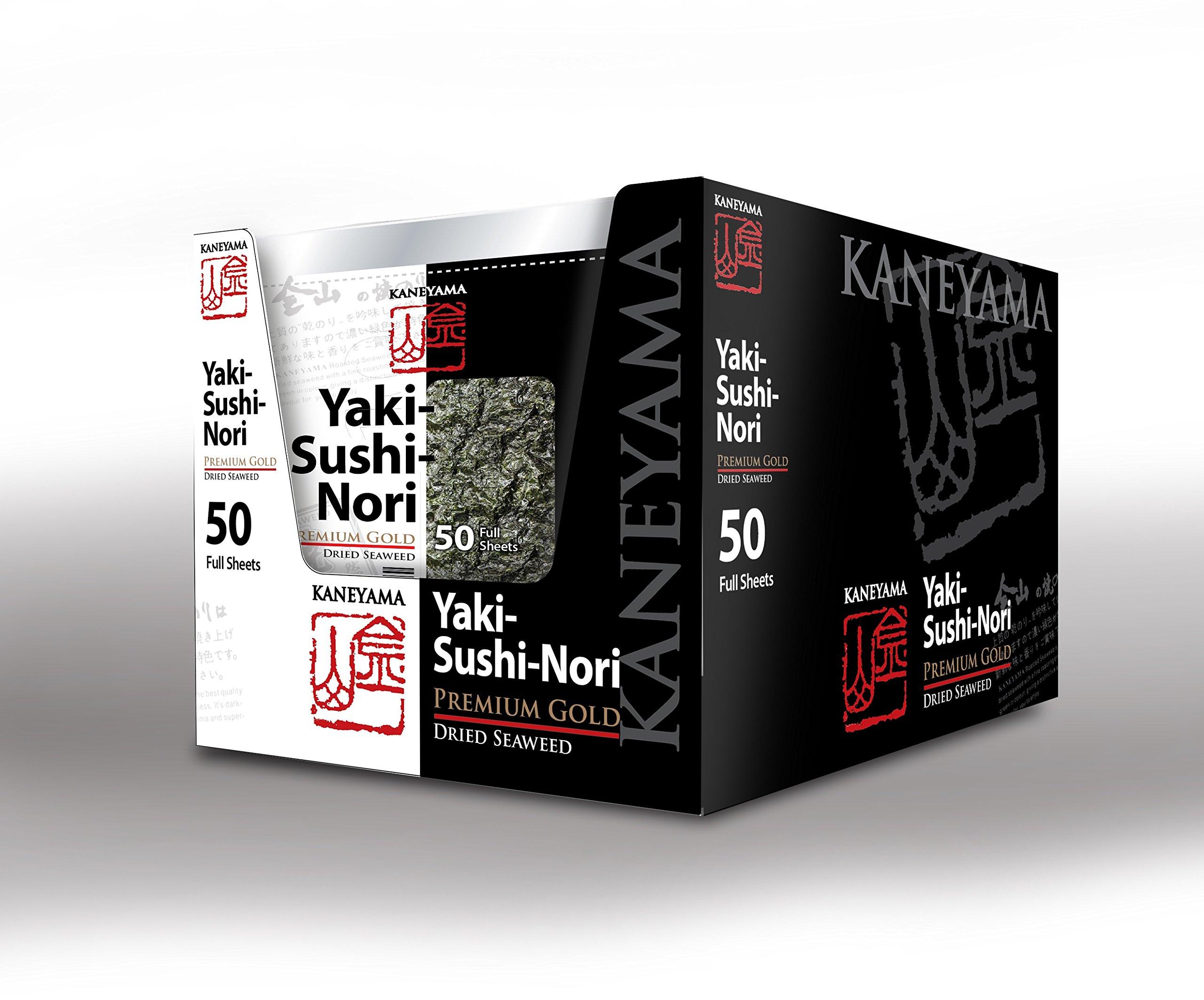 Kaneyama Yaki Sushi Nori / Dried Seaweed (Vacuum-packed/re-sealable), Premium Gold Grade (Full Size 50 Sheets 10 Packs)