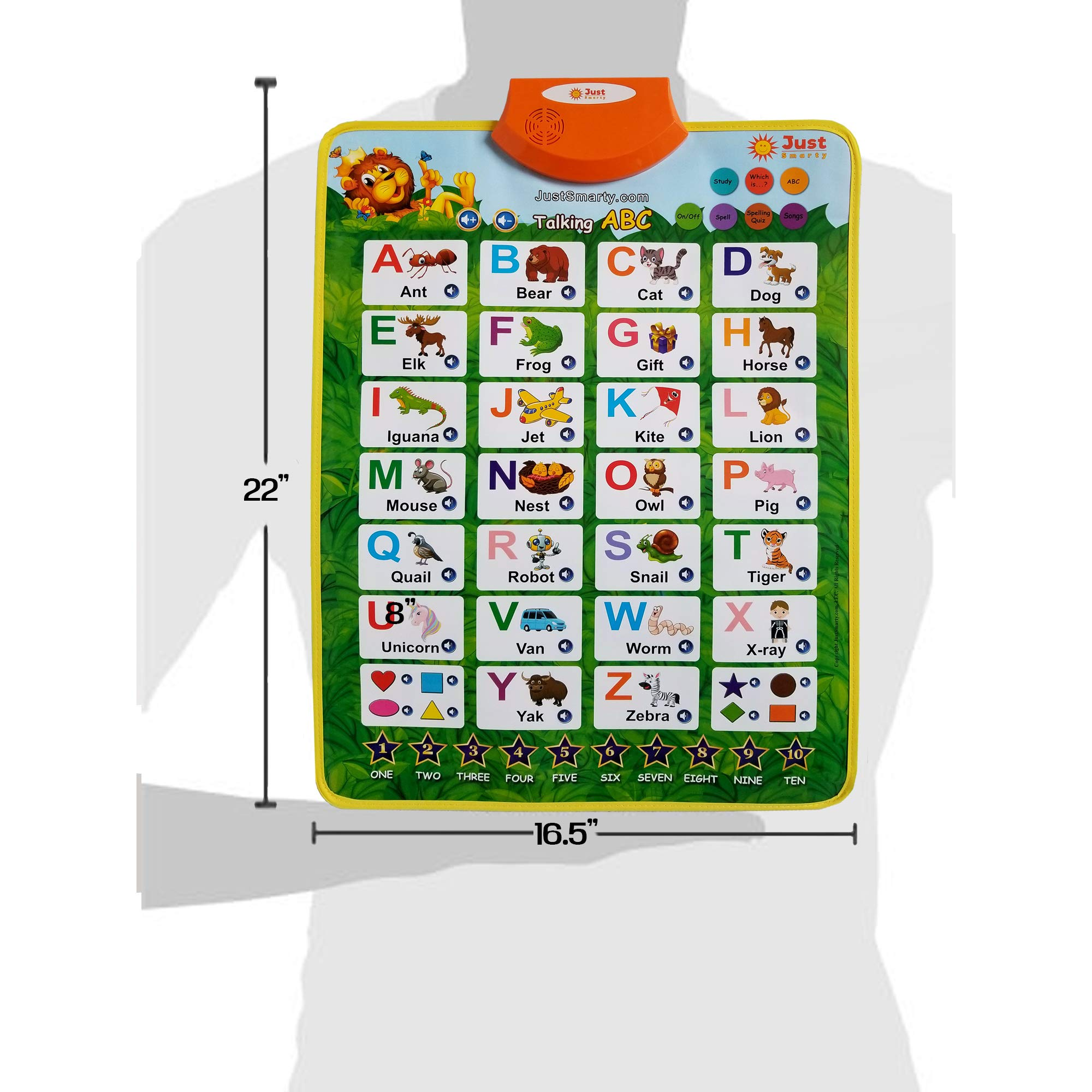 Just Smarty Electronic Interactive Alphabet Wall Chart with Shapes, Colors and Spelling, Talking ABC & 123s & Music Poster, Best Educational Toy for Toddler. Kids Fun Learning at Daycare, Preschool by Just Smarty (Image #5)