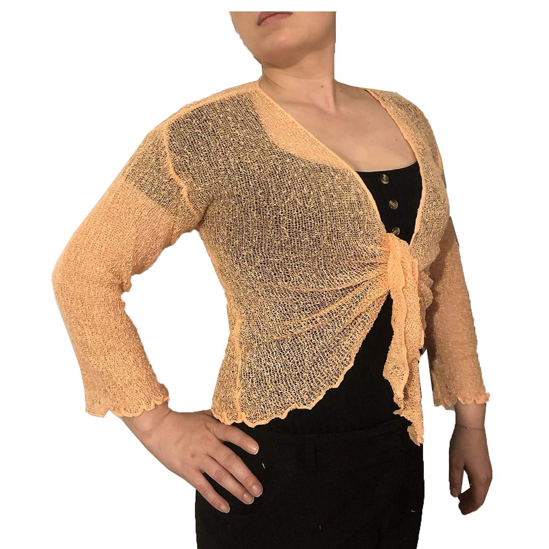 Suit and Suit Traje y Traje para Mujer de Ganchillo con Purpurina o Encaje Liso el/ástico Red de Pesca Bali Tie en la Cintura Bolero Shrug Open Cardigan