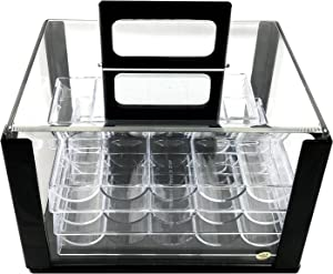 Yuanhe 600 Chip Clear Acrylic Poker Chip Carrier-Includes 6 Chip Racks