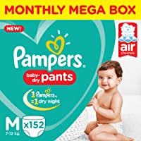 Pampers New Monthly Box Pack Diapers Pants, Medium, White (152 Count)