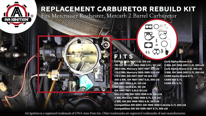 2bbl Mercarb rochester rebuild repair kit  mercruiser GLM 76086 18-7098 sierra