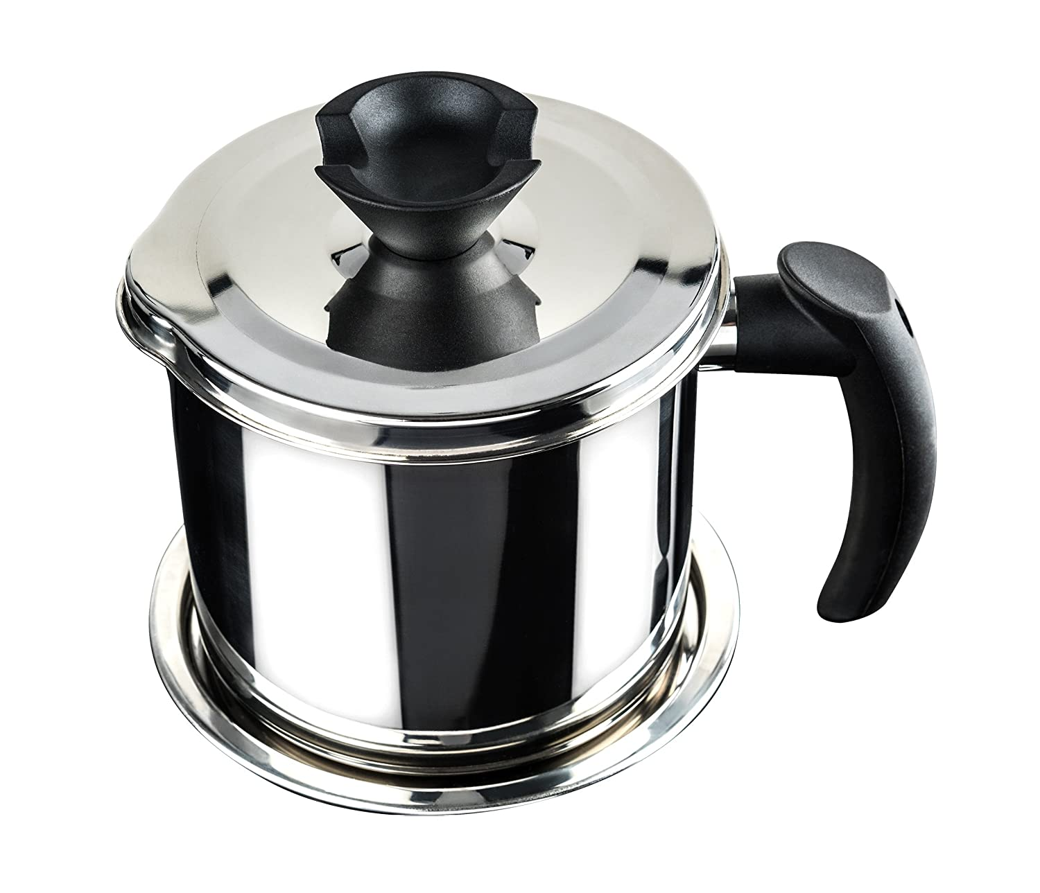 Nellam Grease Container with Separator, Includes Bonus Sponge and Towel - Durable Bacon Cooking Oil Strainer and Cooking Grease Can for Reusing Oil Stainless Steel by Nellam NK-01