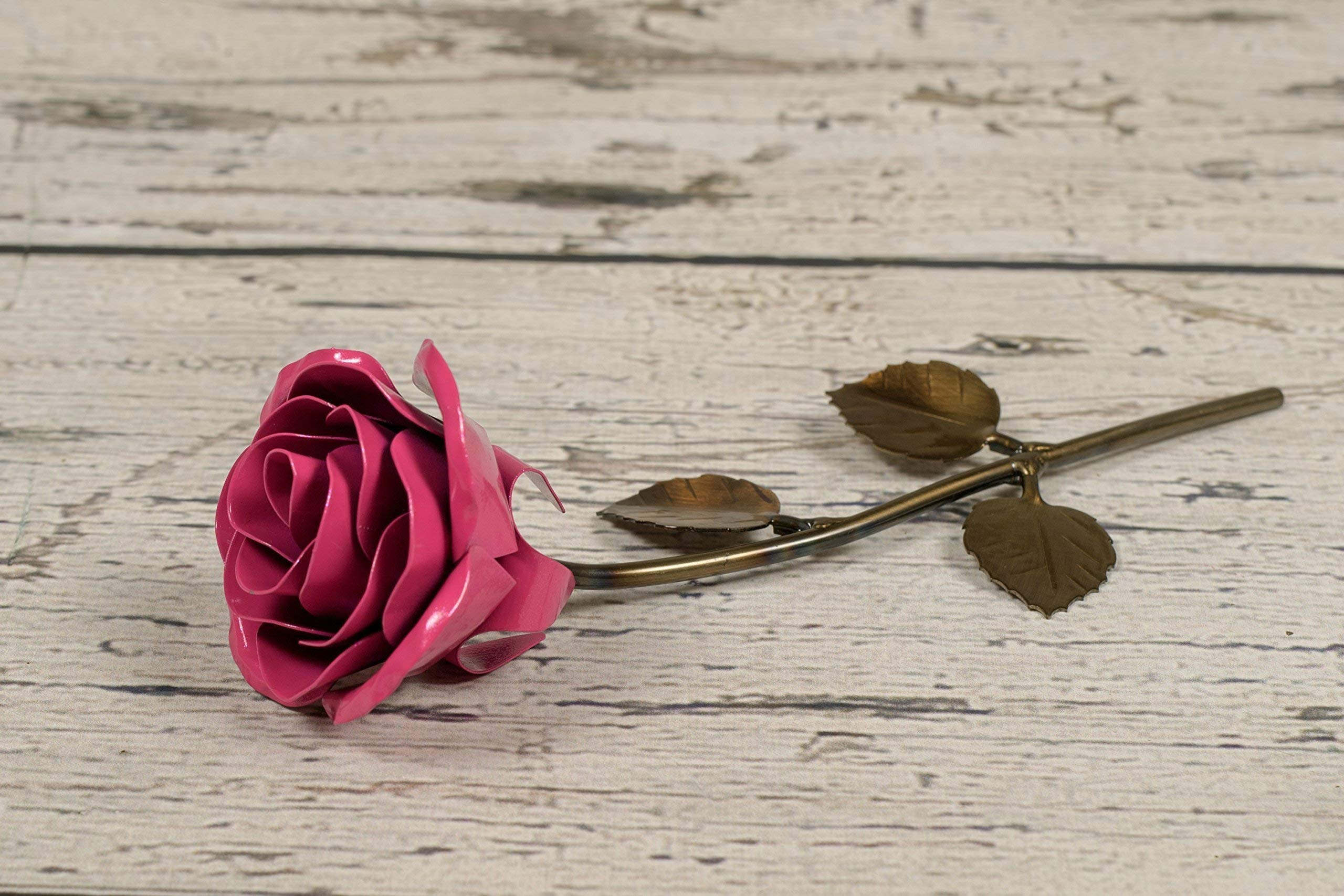silk flower arrangements personalized gift hand-forged wrought iron pink metal rose - valentine's day gift
