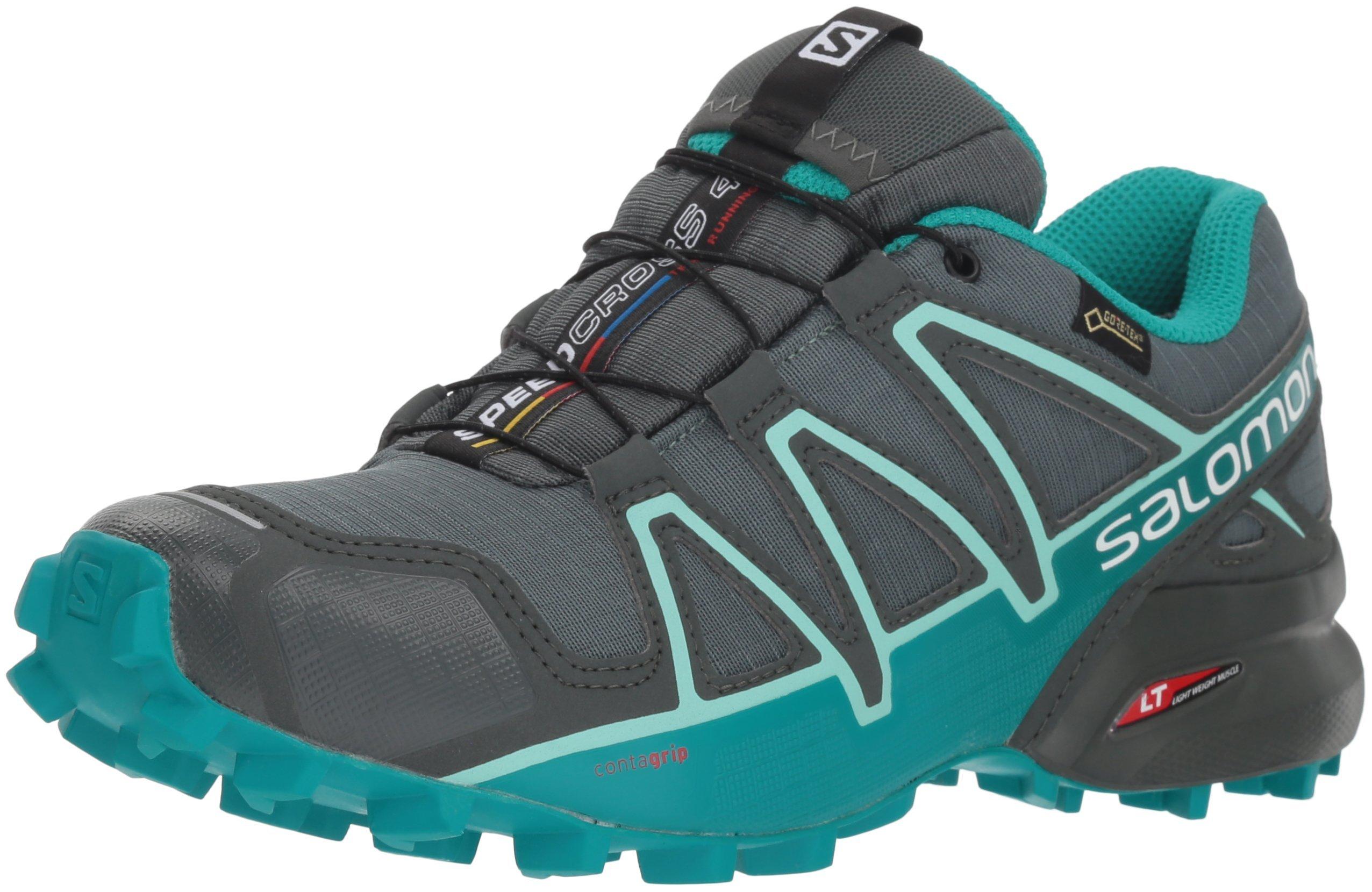 SALOMON Women's Speedcross 4 GTX W Trail Running Shoe, Balsam Tropical Green/Beach Glass, 9.5 M US by SALOMON