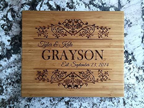 Amazon Com Personalized Wood Cutting Board For Mom Or Grandma Also Perfect Customized Gift For Couples On Wedding Bridal Shower And Housewarming 11 X 13 Single Tone Bamboo Rectangular Grayson Design Kitchen