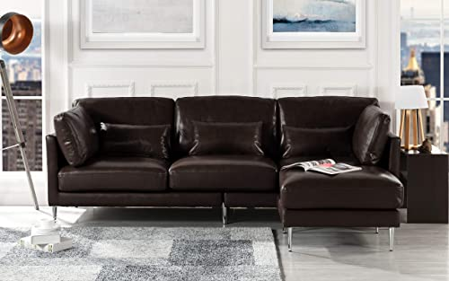Modern Leather Sectional Sofa, L Shape Couch Dark Brown