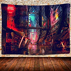 Cyber Punk Tapestry, Psychedelic Future Cyberpunk City Cyberspace Wall Hanging Tapestries for Living Room Bedroom Home Decor 80×60 Inches GTZYUH230