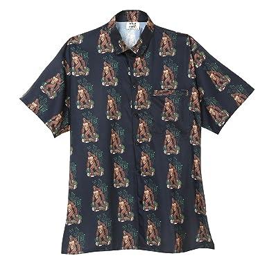 cb7312d8 WHAT ON EARTH Men's Bigfoot Print Camp Shirt - Short Sleeve Button Down -  Black -