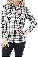 G2 Chic Women's Plaid Woven Button Down Flannel Shirt