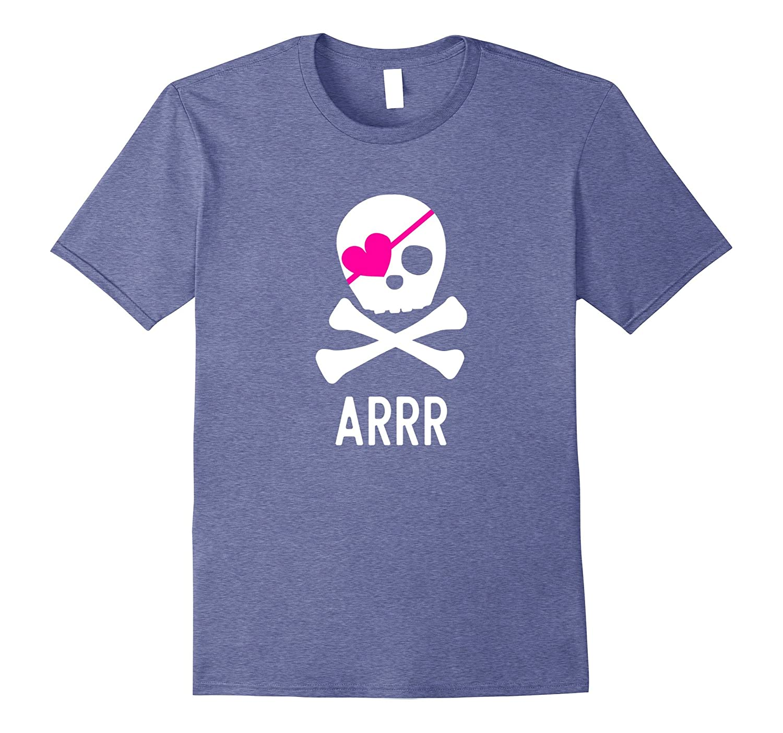 Pirate Shirt for Girls Pink Heart Skull and Crossbones shirt-mt