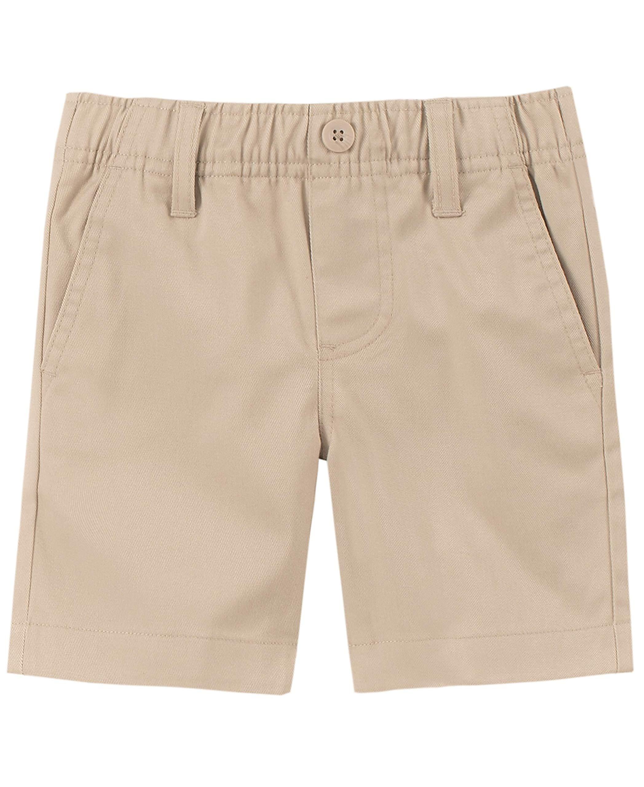 Nautica Boys' Toddler School Uniform Flat Front Twill Short, Khaki/Pull-on, 4T by Nautica