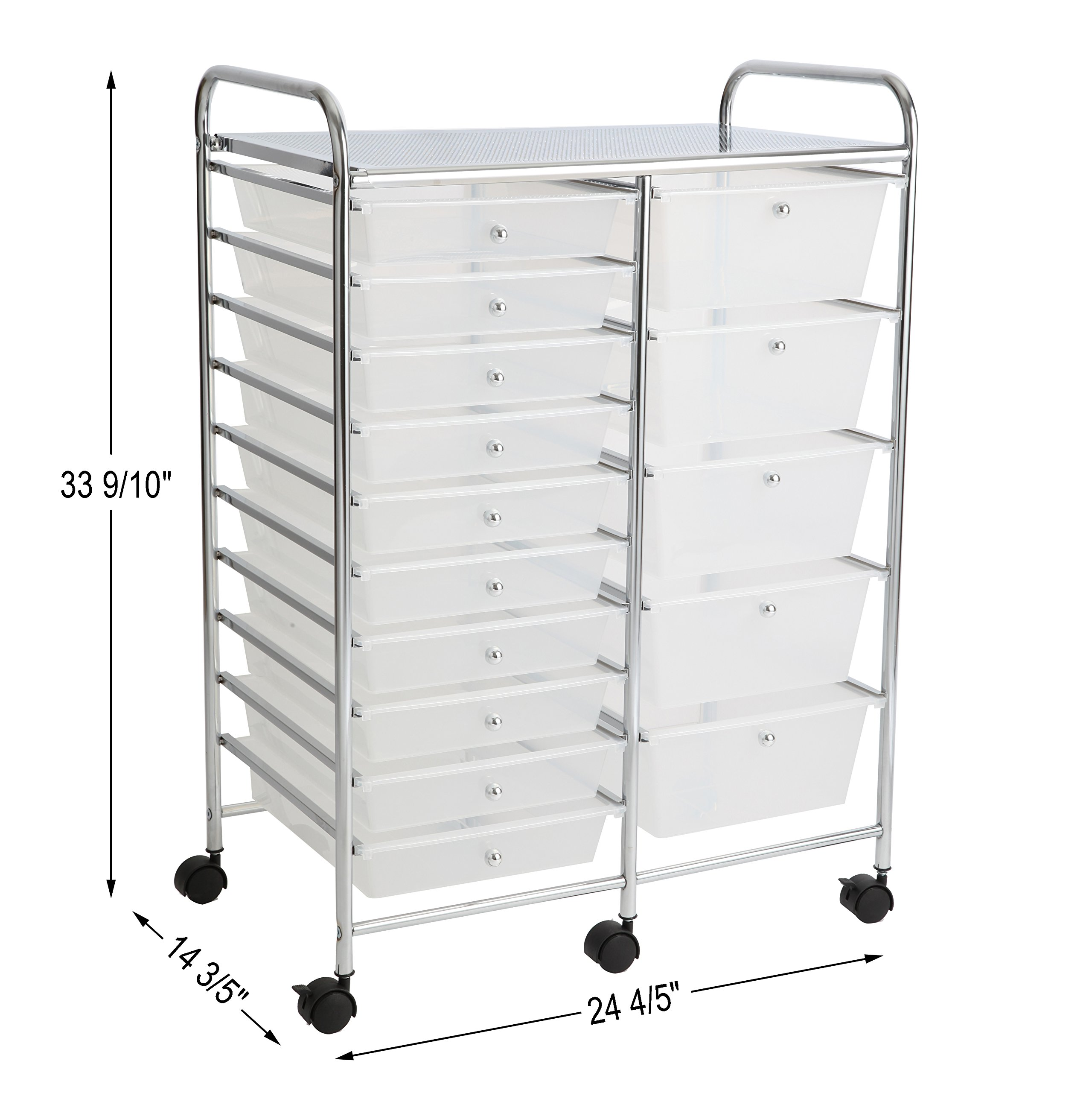 Finnhomy 15 Drawer Rolling Cart Organizer Storage Cart with Drawers Utility Cart for School Office Home Beauty Salon Storage Semi-Transparent White by Finnhomy (Image #3)