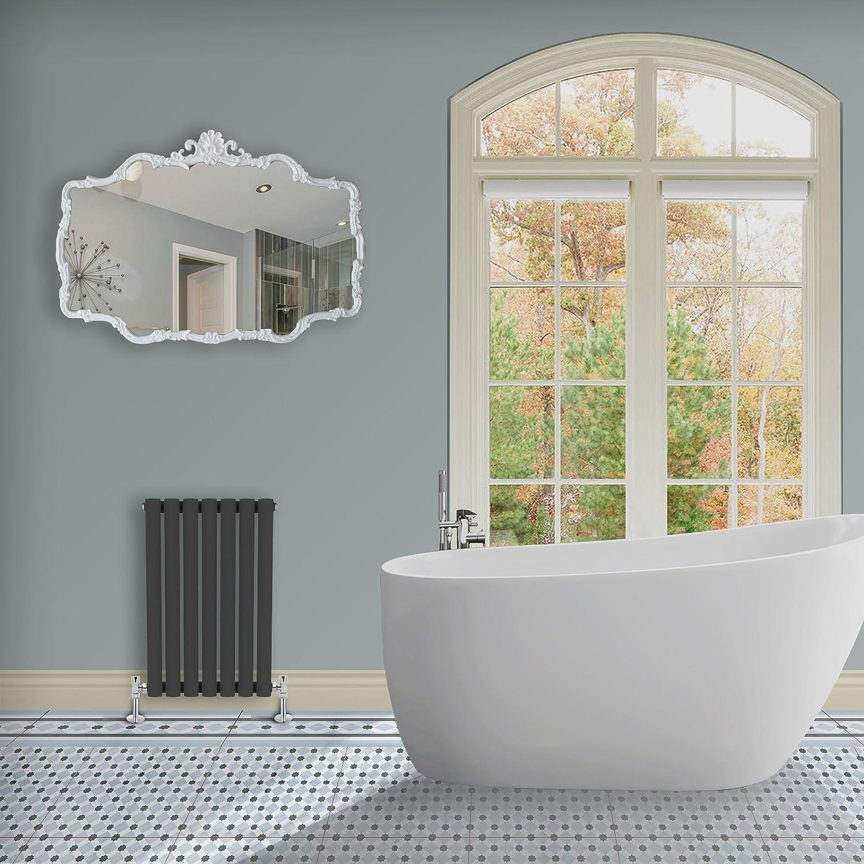 Simple Home | 635 x 415 mm Radiador diseño Borvo brillante antracita horizontal panel doble oval