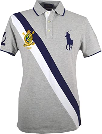 Ralph Lauren – Polo para Hombre – Custom Slim Fit – Gris – Big ...