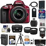 Nikon D3300 Digital SLR Camera & 18-55mm G VR DX II AF-S Zoom Lens (Red) with 32GB Card + Battery & Charger + Case + Tripod + Flash + Tele/Wide Lens Kit