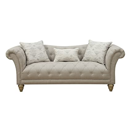 Beau Emerald Home Hutton II Off White Sofa, With Pillows, Button Tufting,  Nailhead Trim