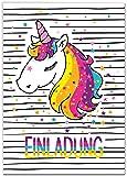 12 Einladungskarten Einhorn Kindergeburtstag Mädchen Unicorn Regenbogen Geburtstagseinladungen Einladungen Kartenset
