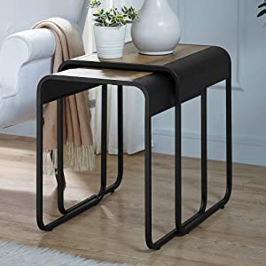 WE Furniture AZF18CURWSTRO Curved Square Metal Nesting Side Tables Living Room, Set of 2, Rustic Oak/Black