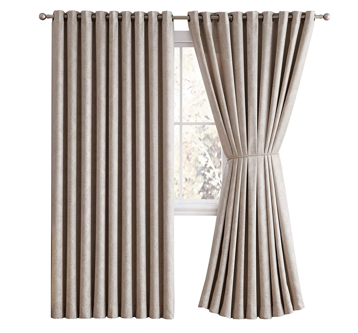 Evelyn - Embossed Thermal Weaved Blackout Curtain With 8 Grommets - Room Darkening & Noise Reduction Fabric - Blocks up to 97% of Sunlight - Premium Draperies (1 panel 54W x 63L, Light Gray) LinenZone