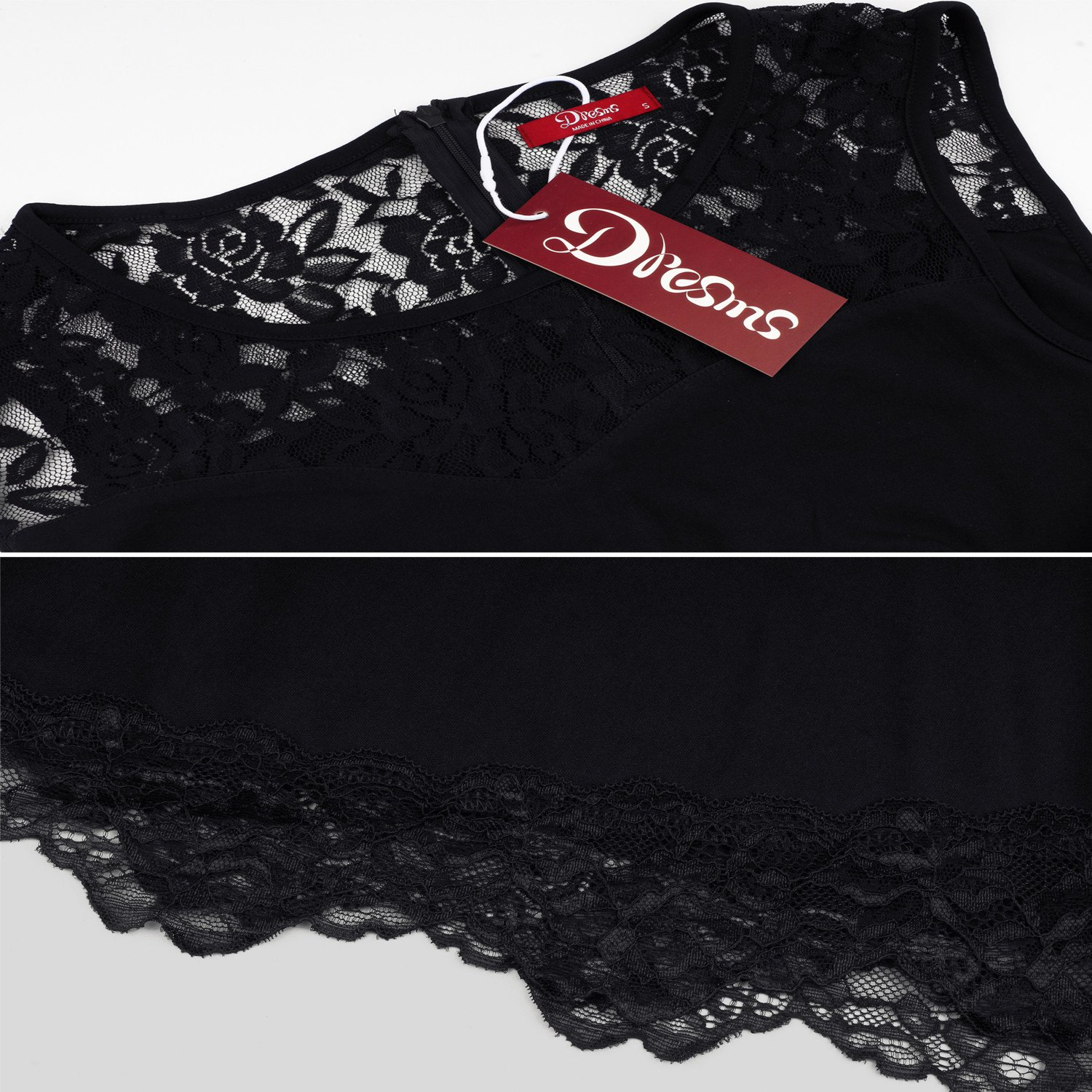 Dresms Women Sleeveless Lace Floral Elegant Cocktail Dress Crew Neck Knee Length (Black, Small) by Dresms (Image #6)