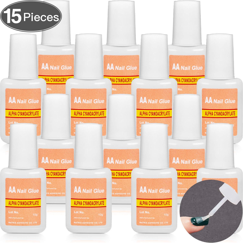 Adhesive False Nail Glue Brush-On Nail Glue Quick Nail Glue for Nail Make Up Supplies (15 Packs) by Hicarer