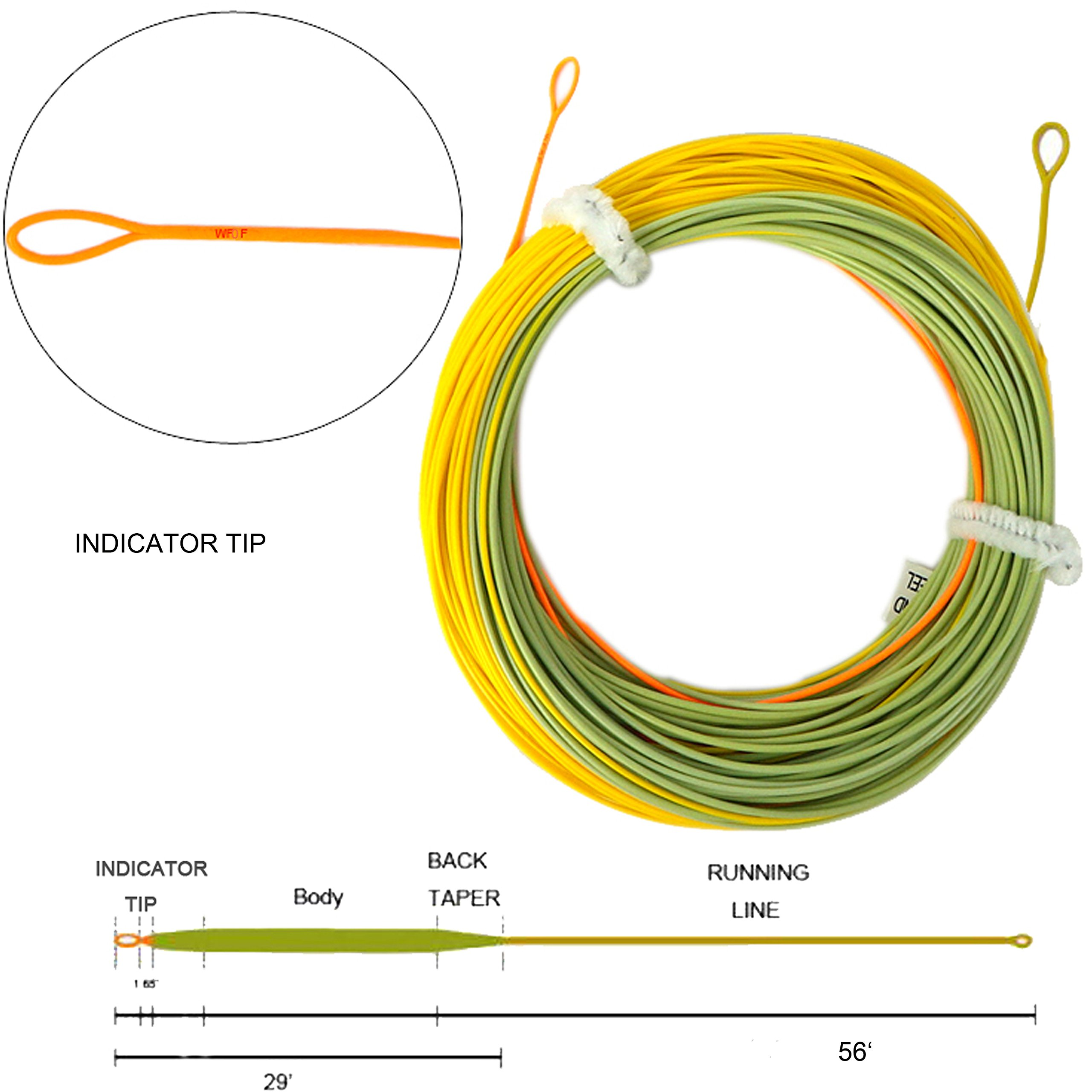 Aventik Fly Fishing Line Weight Forward Indicator Fly Line Percerption Line Ultra Low Stretch Core, Loading Zoom Welded Loops Line ID(Orange+Green+Yellow,0-5F)