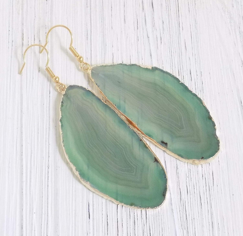 Agate Geode Slice Earrings Natural Crystal Earrings 925 Silver Earrings Holiday Jewelry Natural Stone Jewelry Natural Stone Earrings