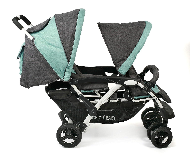 Gris Gris CHIC 4/Baby 274/65/Carrito Duo con bolsa melange Antracita de Mint