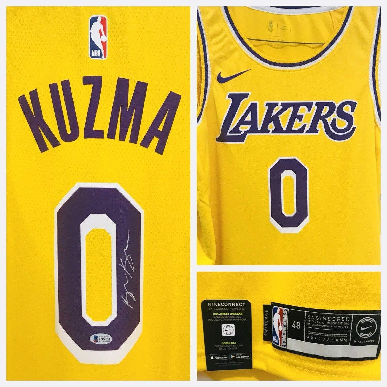 buy popular e3295 ada7a Kyle Kuzma Autographed Signed Lakers Nike Swingman Jersey ...