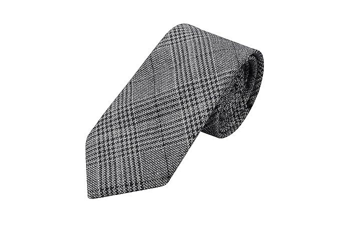 Necktie - Glen check in darkest navy, off-white & green Notch