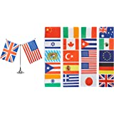 Juvale Mini International Flags, Country Flags for Kids - Mini World Flag Decorations, Includes