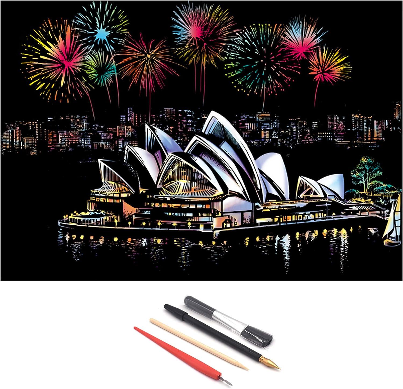 12Pcs in 3 Set World City Feuerwerk Scratch Bild Nocturne DIY Scratching