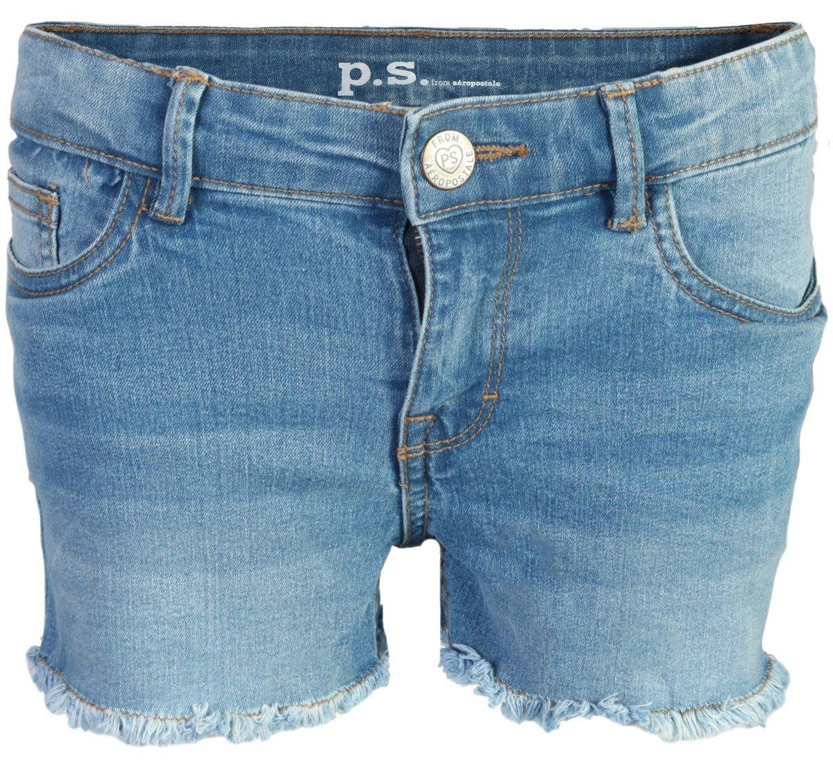 p.s. from aeropostale Girls Denim Shorts, Light Wash w/Panel, Size 10'