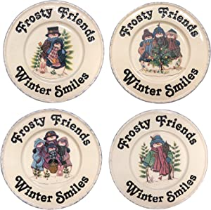 Hearth & Home Traditions B07CC49P7P Frosty the Snowman Plates Winter Ceramic Dessert Snack Salad Set of 4, , White