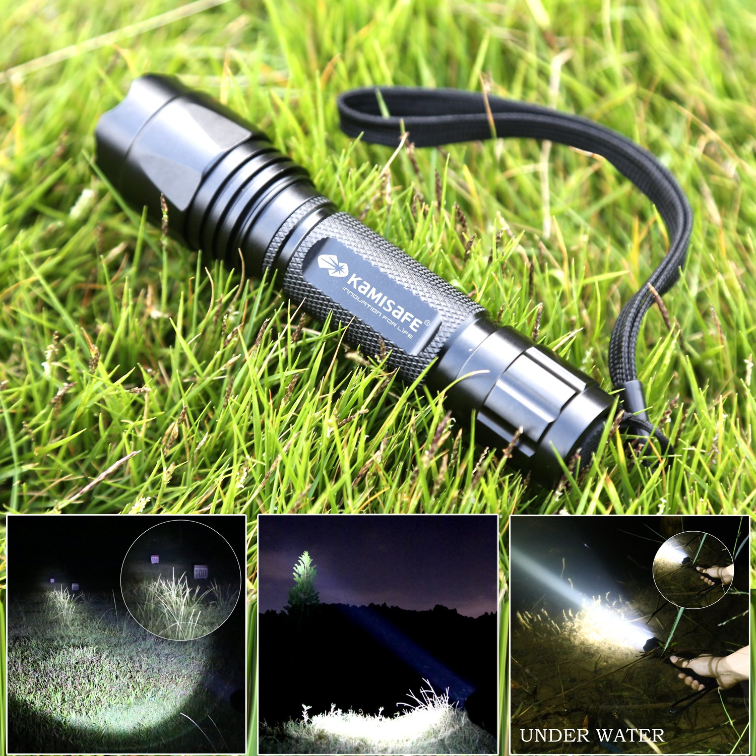 Kamisafe KM-9003 Compact 18650 LED Tactical Flashlight Torch Cree Q5 5 Modes Waterproof Outdoor Flashlight with Wrist Strap