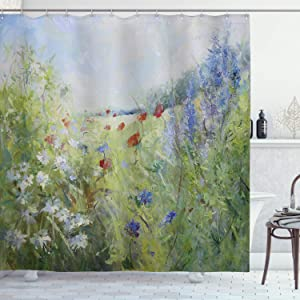 Ambesonne Flower Shower Curtain, Summer Season Terrace Gate Colorful Flowers in a Garden House Greece Image, Cloth Fabric Bathroom Decor Set with Hooks, 70