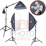 PhotoGeeks 3 Light Super 5 Softbox Continuous Photography Lighting Kit / 50 x 70cm Soft Boxes / 10 30w & 1 55w 5500k Bulbs / Boom Arm