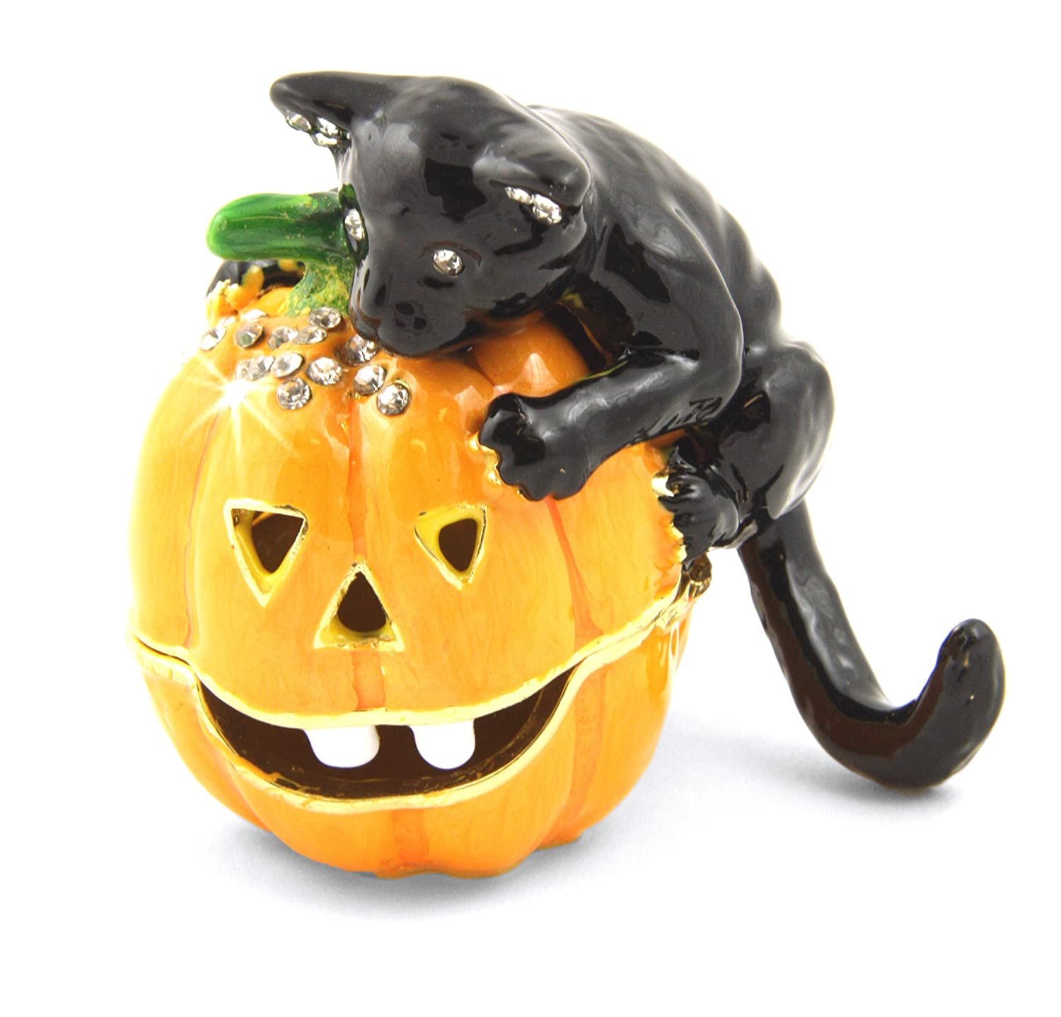 Halloween Black Cat on Jack O Lantern Trinket Box