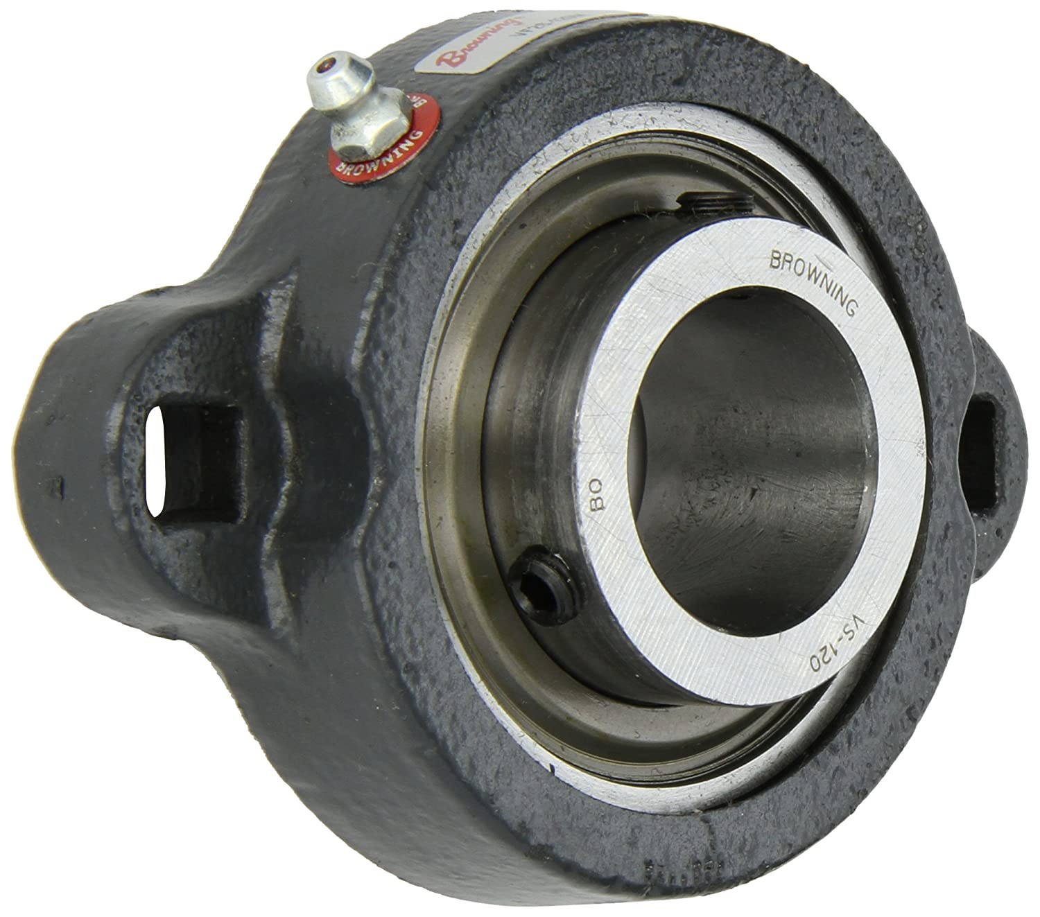 3-15//16 Bolt Hole Spacing Width Contact and Flinger Seal 2 Bolt Setscrew Lock 4-13//16 Overall Width Inch 1-1//4 Bore Ductile Iron Regreasable Browning VF2S-120M Intermediate-Duty Flange Unit