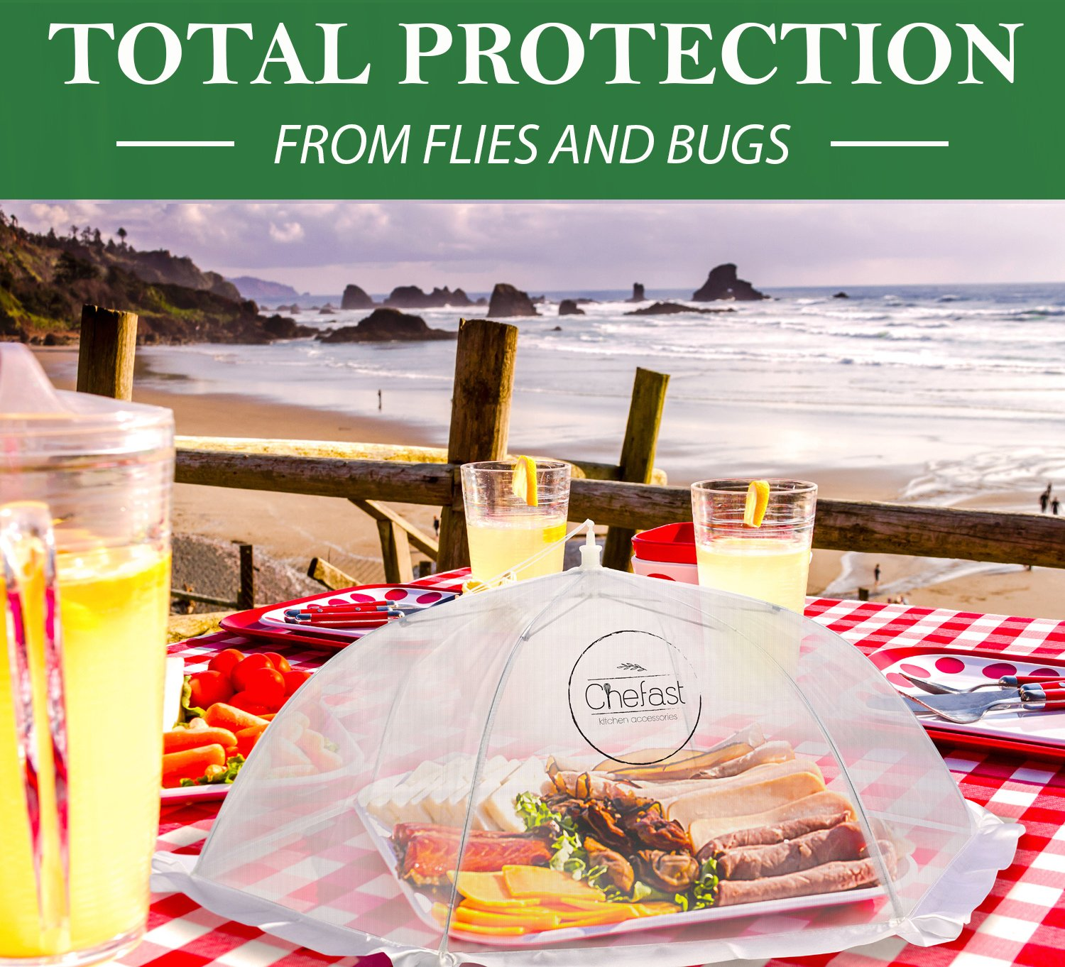 Chefast Food Cover Tents (5 Pack) - Combo Set of Pop Up Mesh Covers in 3 Sizes and a Reusable Carry Bag - Umbrella Screens to Protect Your Food and Fruit from Flies and Bugs at Picnics, BBQ and More by Chefast (Image #6)